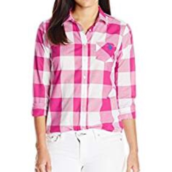 7749386901a Bright Pink White Buffalo Plaid Button Down Shirt